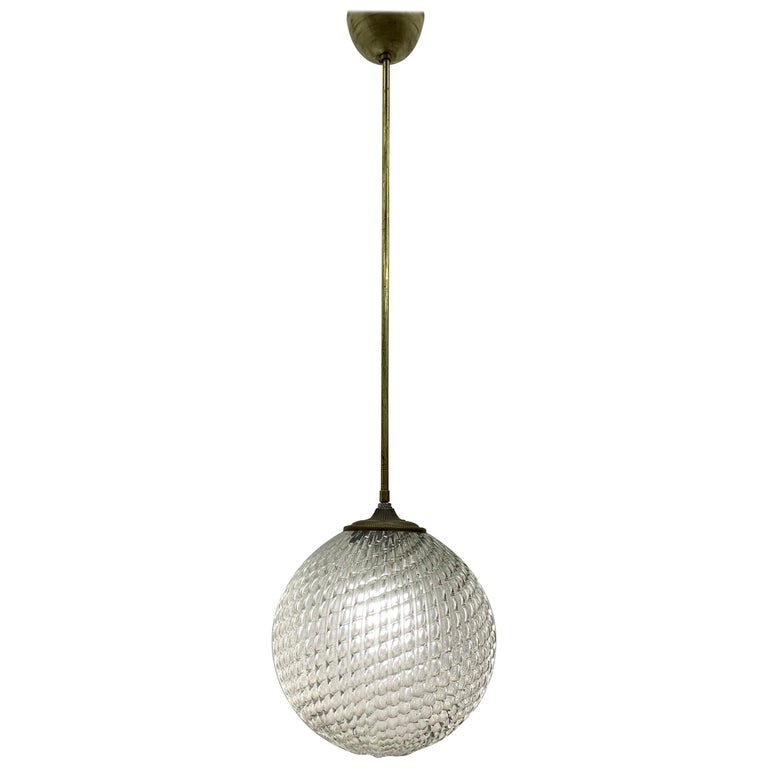 Mid-Century Modern pendant light, circa 1930 by Seguso in Murano Glass, Italy For Sale