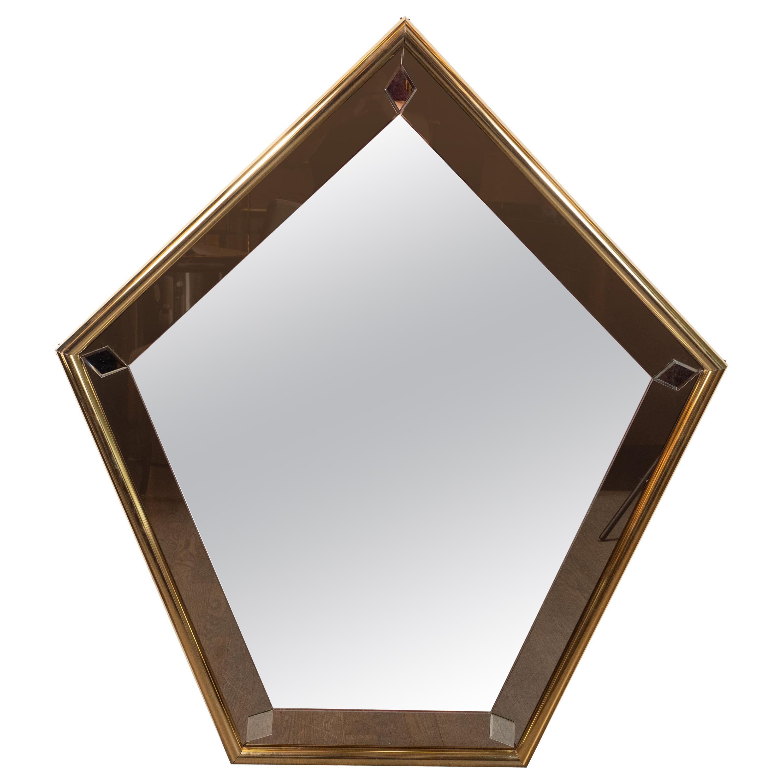Mid-Century Modern Pentagonal Brass Wrapped Mirror with Smoked Border