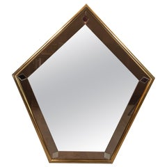 Mid-Century Modern Pentagonal Brass Wrapped Mirror with Smoked Border