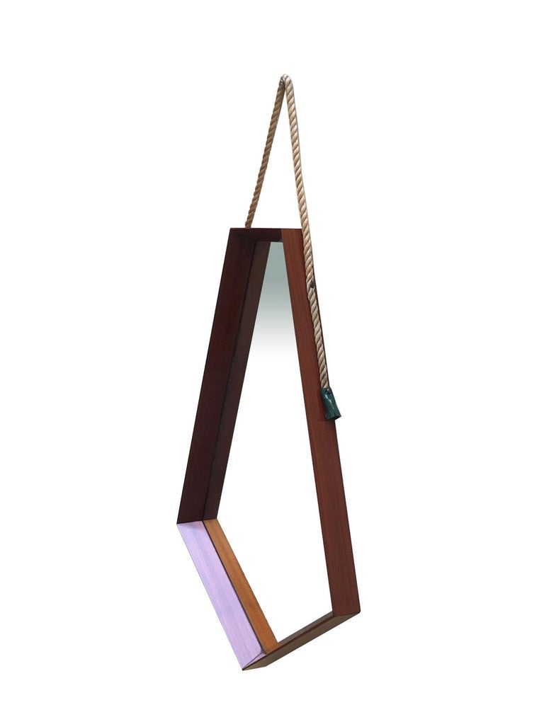 Mid-Century Modern Pentagonal Frame Mirror, 1960s In Good Condition For Sale In Naples, IT
