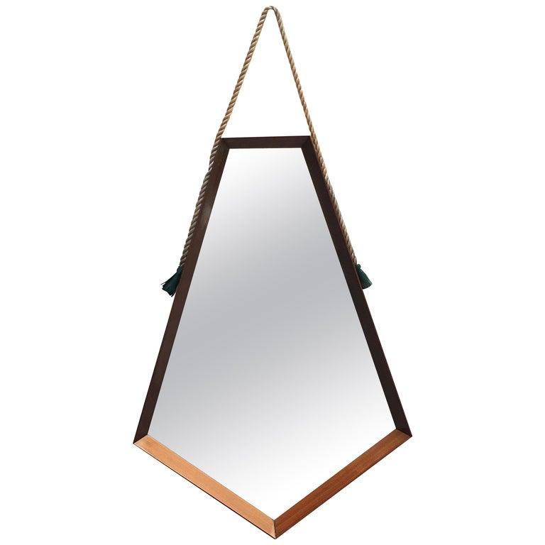 Mid-Century Modern Pentagonal Frame Mirror, 1960s For Sale