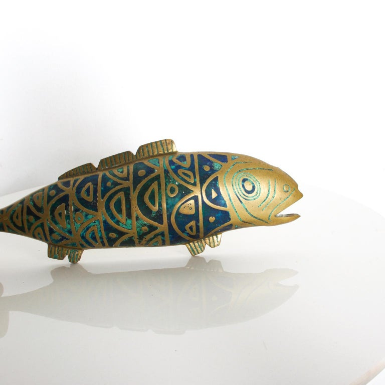 For Your Consideration: Pepe Mendoza Vintage Bronze, Malachite, Sculptured Fish Decorative Object Dimensions are: 16