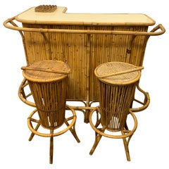 Mid-Century Modern Period Bamboo Bar Tiki Bar with Matching Stools