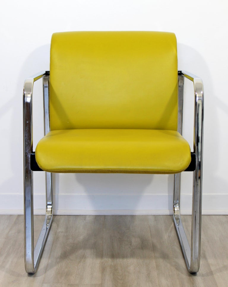 For your consideration is a fun, chrome armchair, with yellow leather upholstery, by Peter Protzman for Herman Miller, circa the 1960s. In excellent vintage condition. The dimensions are 23