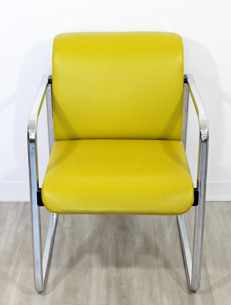 American Mid-Century Modern Peter Protzman Herman Miller Yellow Leather Chrome Chair For Sale