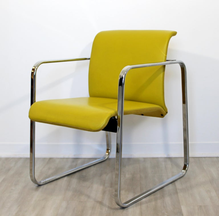 Mid-Century Modern Peter Protzman Herman Miller Yellow Leather Chrome Chair In Good Condition For Sale In Keego Harbor, MI