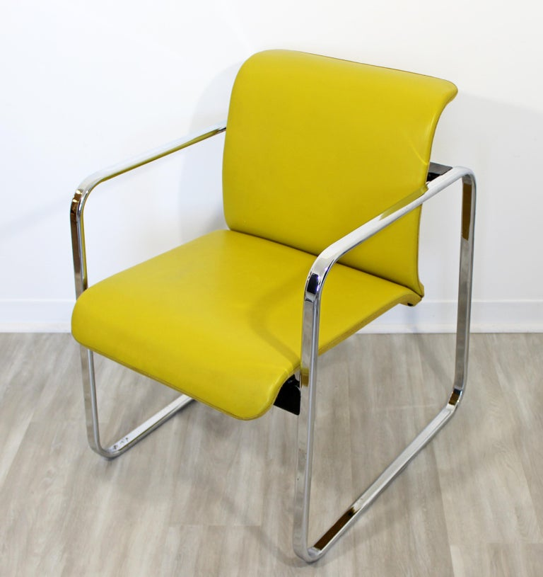 Mid-20th Century Mid-Century Modern Peter Protzman Herman Miller Yellow Leather Chrome Chair For Sale