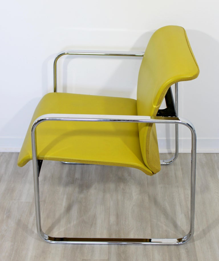 Mid-Century Modern Peter Protzman Herman Miller Yellow Leather Chrome Chair For Sale 3