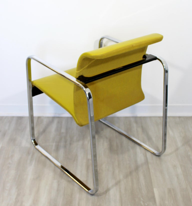 Mid-Century Modern Peter Protzman Herman Miller Yellow Leather Chrome Chair For Sale 4