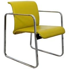 Mid-Century Modern Peter Protzman Herman Miller Yellow Leather Chrome Chair