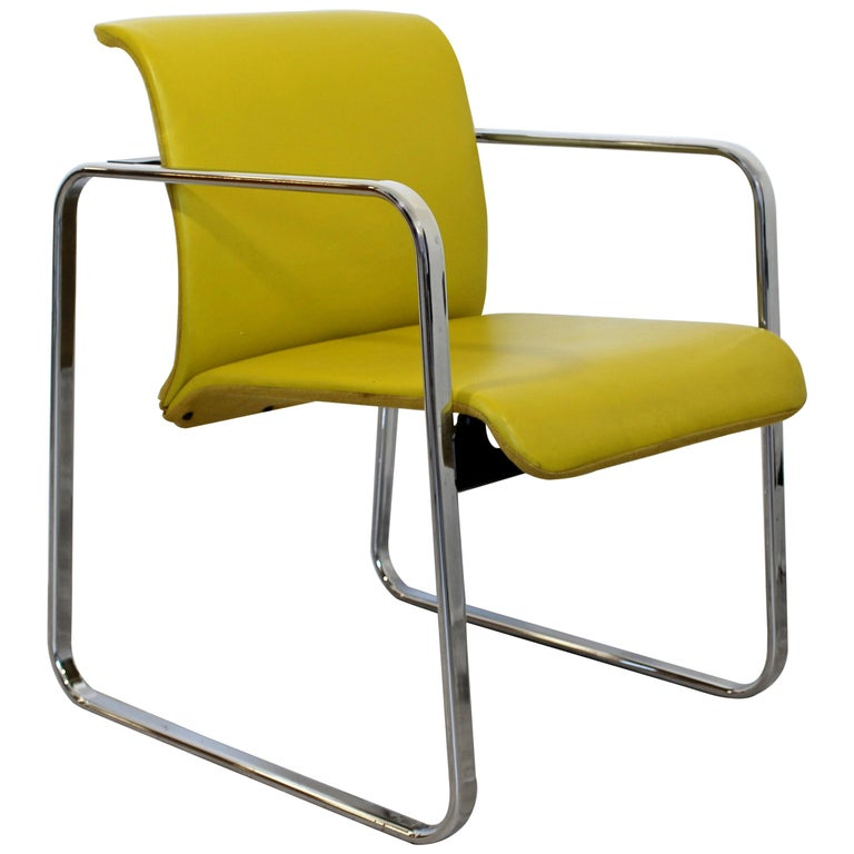 Mid-Century Modern Peter Protzman Herman Miller Yellow Leather Chrome Chair For Sale