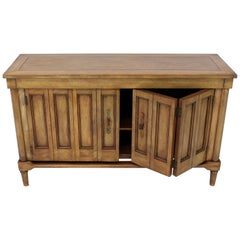 Mid-Century Modern Petit Fruitwood Credenza with Double Accordion Doors