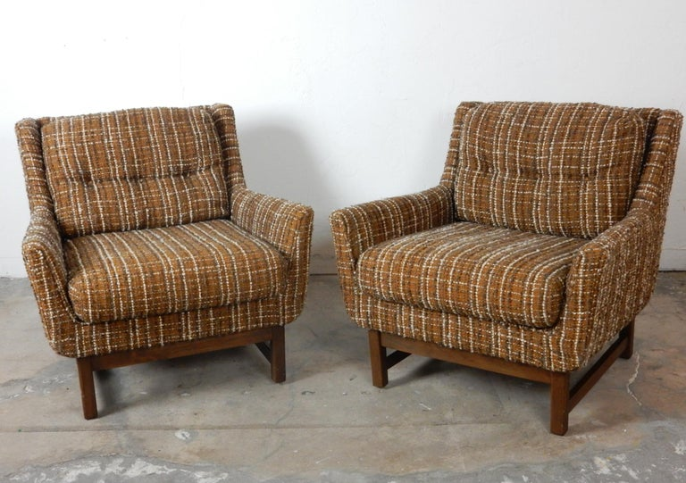 Upholstery Mid-Century Modern Petite Lounge Chairs Jens Risom For Sale