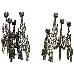 Mid-Century Modern Petite Pair of Brutalist Candleholders Table Sculptures 1960s