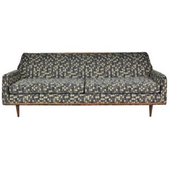 Mid-Century Modern Petite Sofa with Wood Trim Newly Upholstered Gray Black Taupe