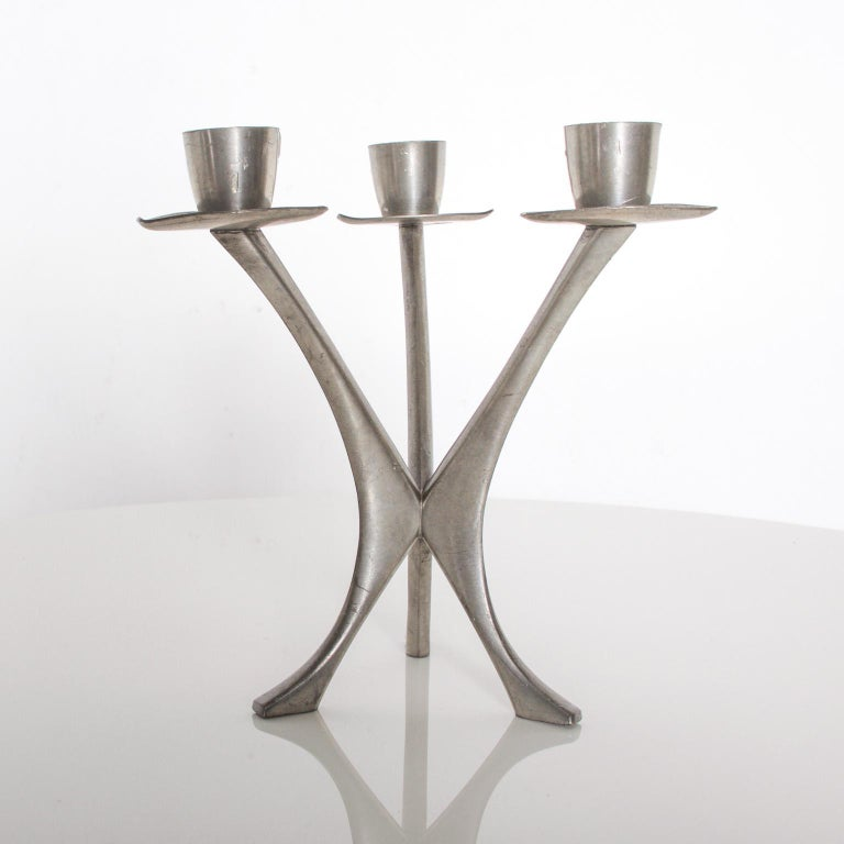 For your pleasure: Midcentury candleholder Trio candleabra in Pewter from Norway. Norwegian Brodrene Mylius Pewter, BM Pewter, stamped by maker. Dimensions: 6 1/2