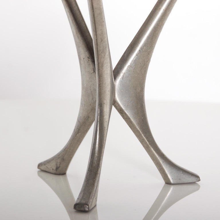 Mid-Century Modern Pewter Candleholder Trio Candelabra, B M Pewter, Norway In Good Condition For Sale In National City, CA
