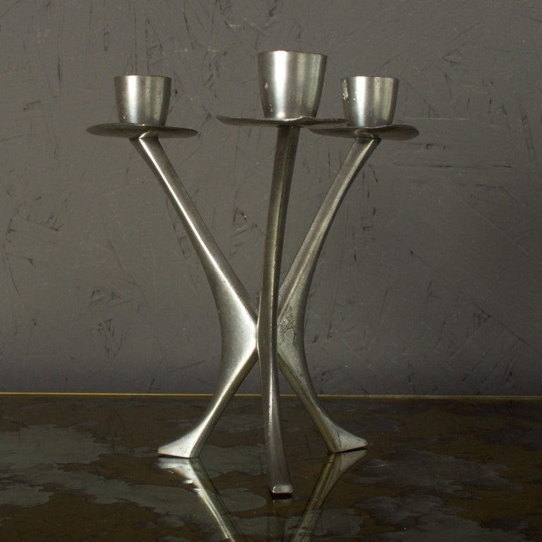Mid-Century Modern Pewter Candleholder Trio Candelabra, B M Pewter, Norway For Sale 2