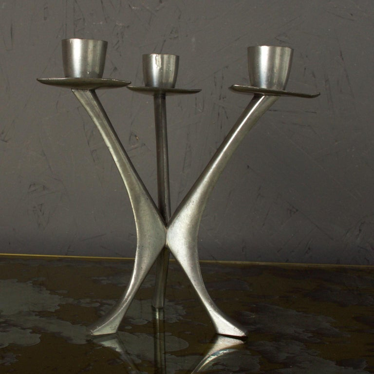 Mid-Century Modern Pewter Candleholder Trio Candelabra, B M Pewter, Norway For Sale 3