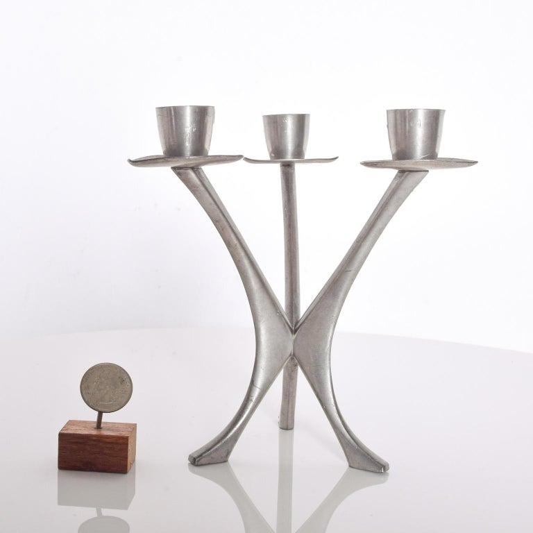 Mid-Century Modern Pewter Candleholder Trio Candelabra, B M Pewter, Norway For Sale 4