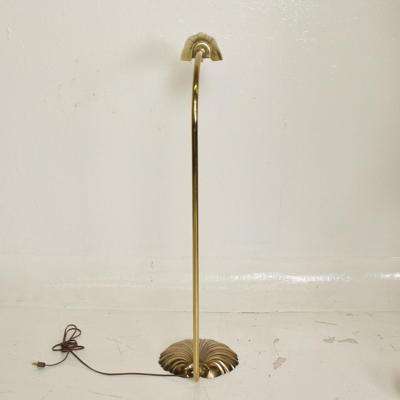 Mid Century Modern Pharmacy Reading Floor Lamp Brass Seashell Shape At 1stdibs