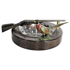 Mid-Century Modern Pheasant Hunting Inspired Ashtray with Shotgun Handle