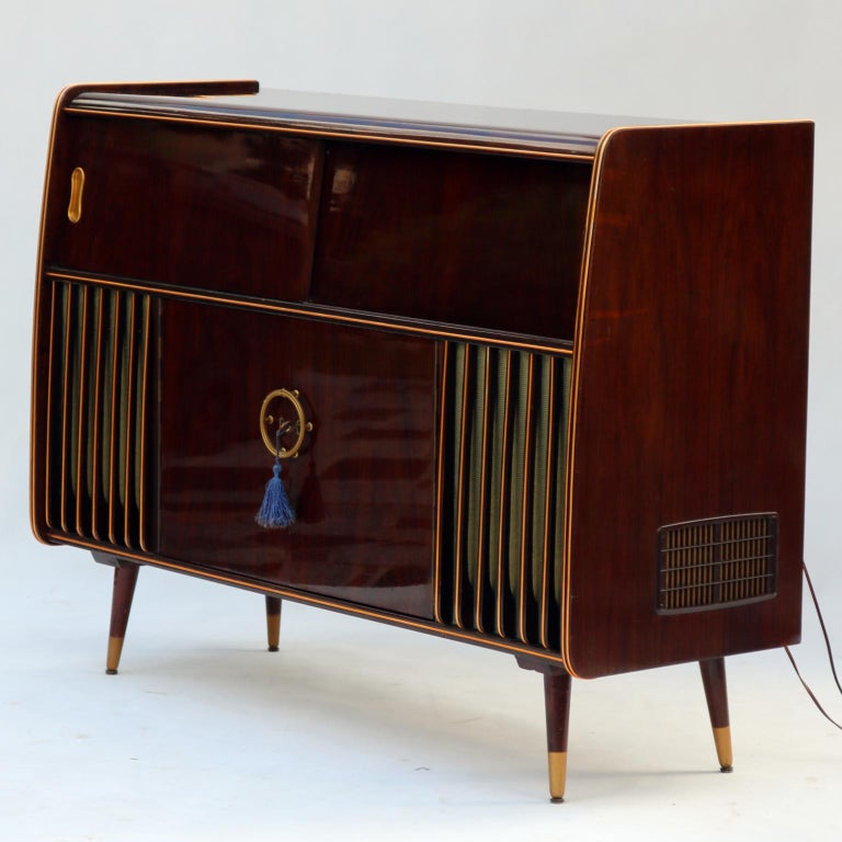 Mid-Century Modern Phonograph Stereo Console and Bar ...