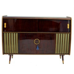 Mid-Century Modern Phonograph Stereo Console and Bar Cabinet, 1950s