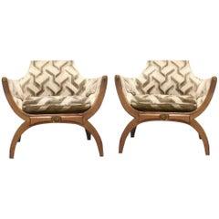 Mid-Century Modern Phyllis Morris Cerune Throne Chairs, Jack Lenor Larsen velvet