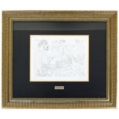 Mid-Century Modern Picasso Horses Et. Al 347 Series 7/50 Signed Framed 1940s