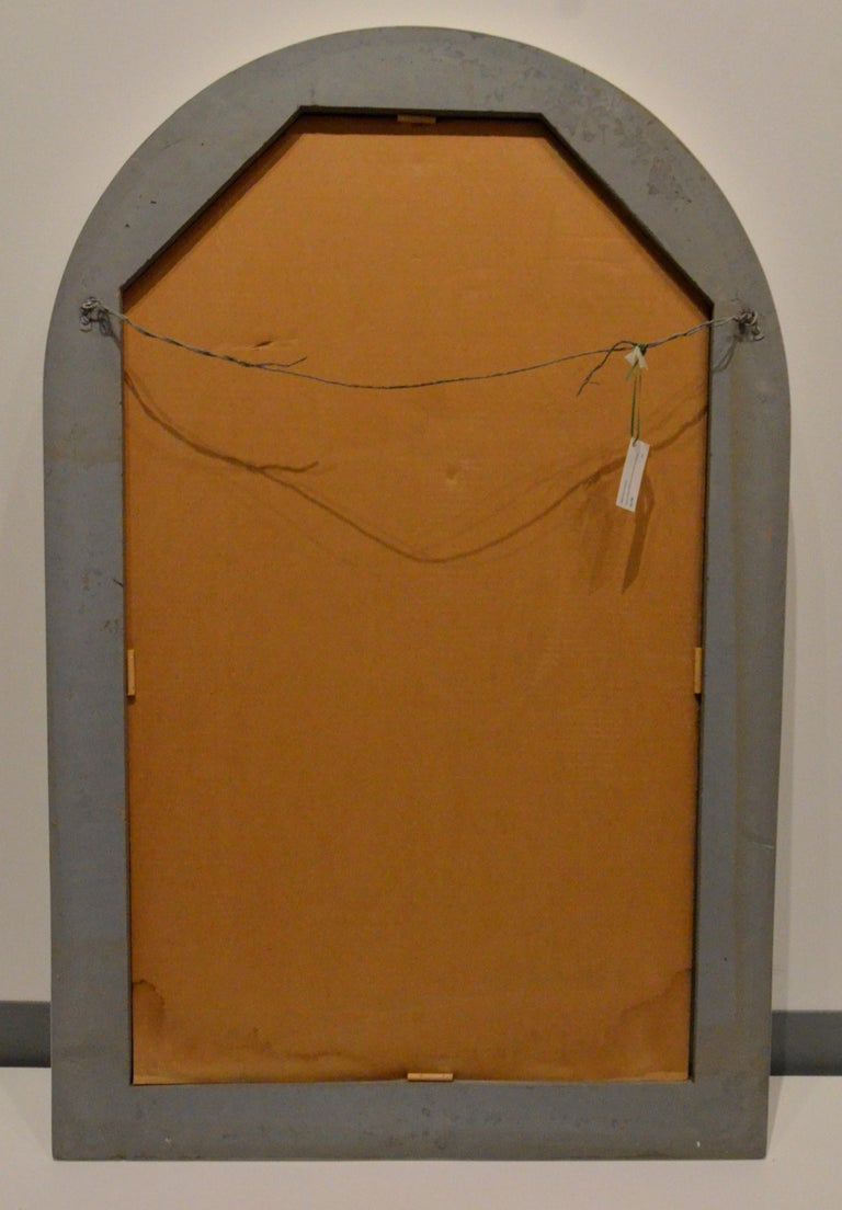 Pierre Cardin Attributed Arched Wall Mirror Newly Lacquered Wood in Off-White For Sale 12