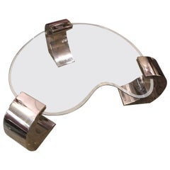 Mid-Century Modern Pierre Cardin Glass and Chrome Coffee Table