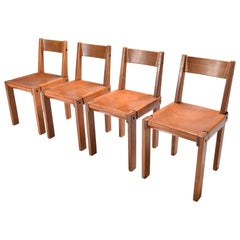 """Mid-Century Modern Pierre Chapo Leather and Elm Chairs """"S24"""", Set of Four, 1970"""