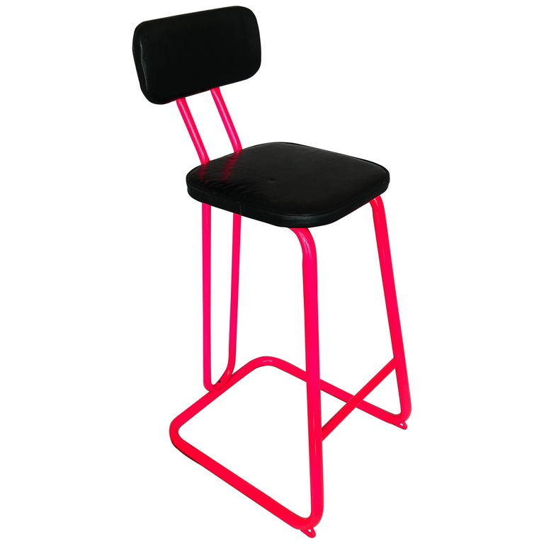 Mid-Century Modern bar stools by Daystrom.  Newly powder-coated in pink and simi-orange vintage MCM chrome bar stool in original black vinyl fabric, Marked DAYSTROM on the back.