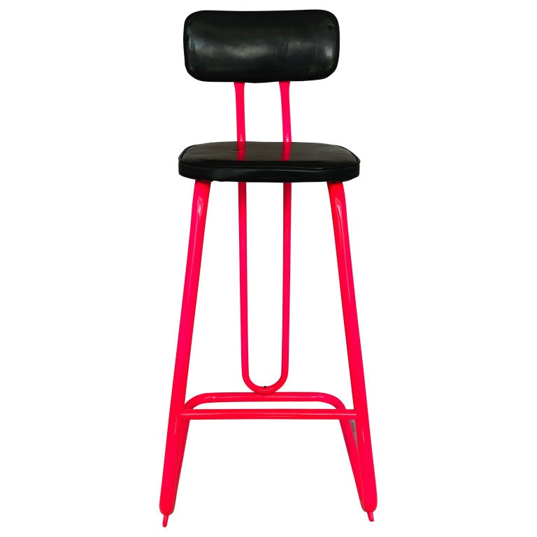 American Mid-Century Modern Pink Bar Stool by Daystrom and Knoll For Sale