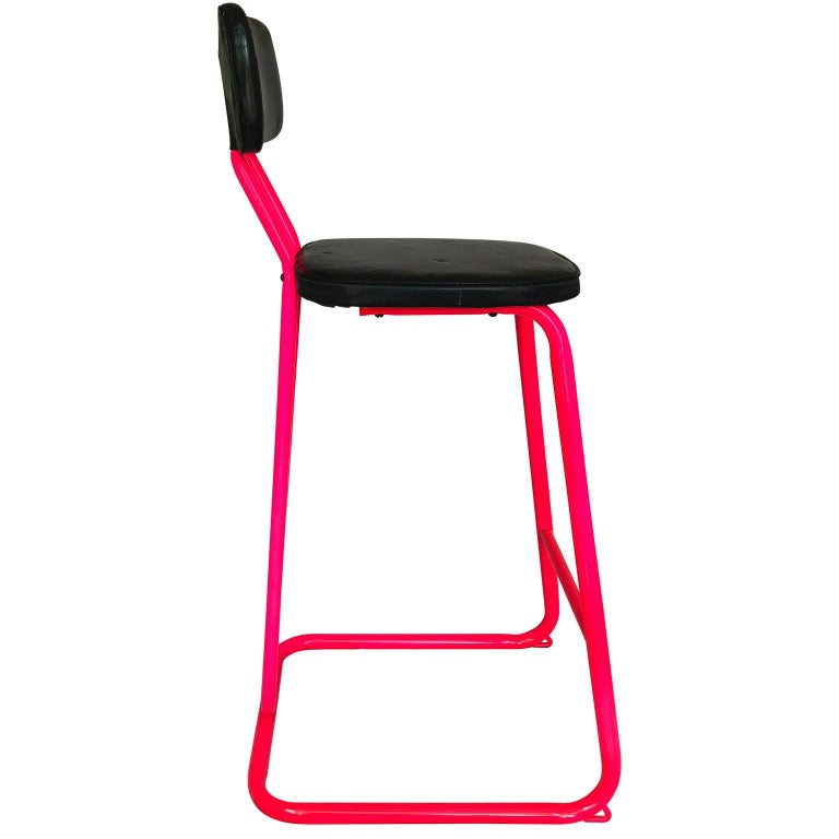 Metal Mid-Century Modern Pink Bar Stool by Daystrom and Knoll For Sale