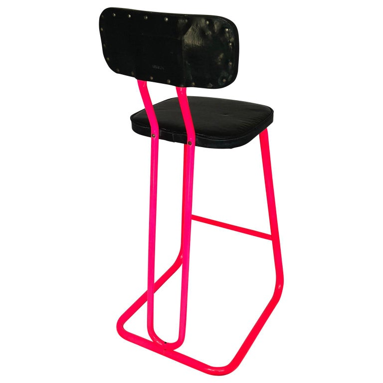 Mid-Century Modern Pink Bar Stool by Daystrom and Knoll For Sale 1