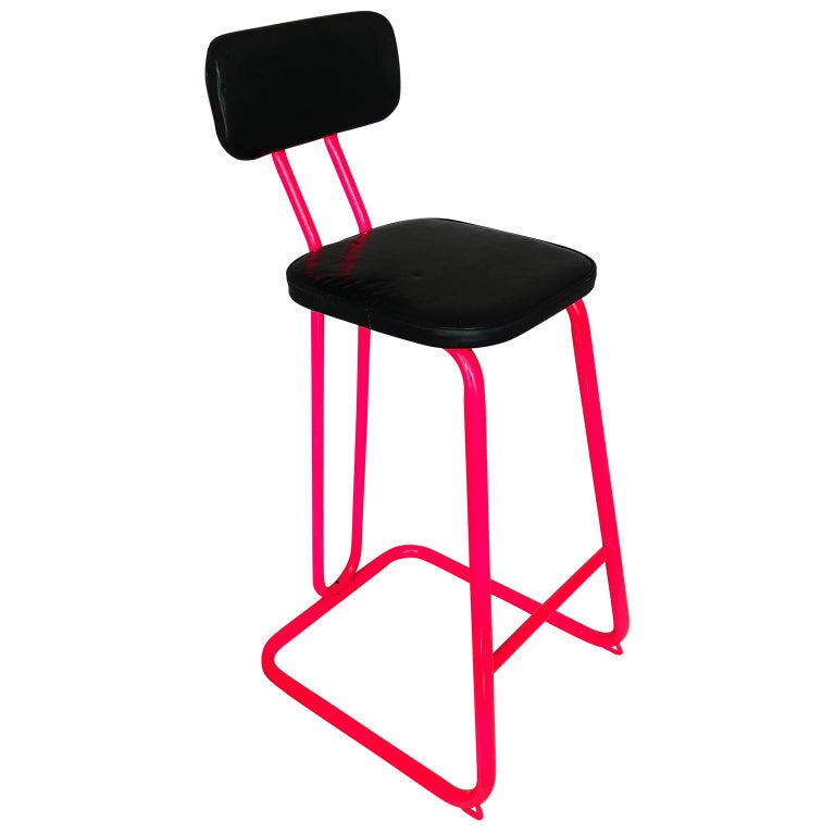 Mid Century Modern Pink Bar Stool By Daystrom And Knoll