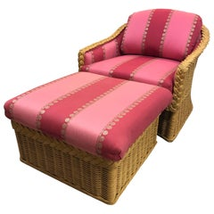 Mid-Century Modern Pink Rasberry Wicker Lounge Chair and Ottoman