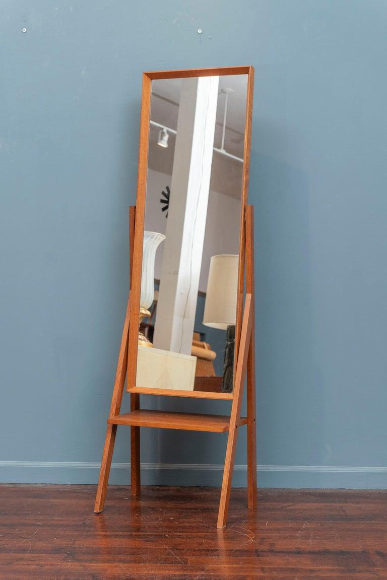 Mid-Century Modern pivoting teak floor or dressing mirror, Denmark.