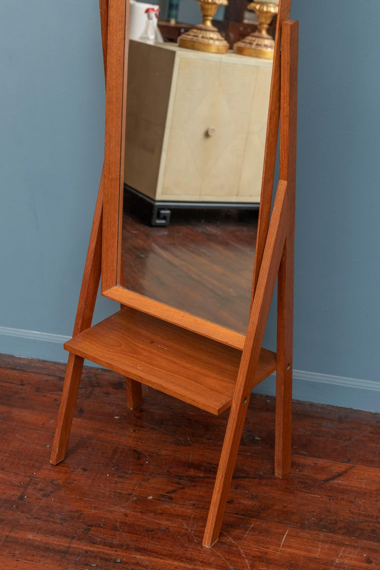 Danish Mid-Century Modern Pivoting Floor Mirror For Sale