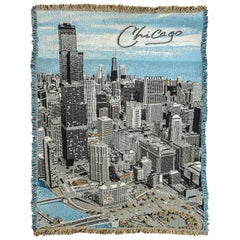 Mid-Century Modern Plaid or Wall Hanging Depicting the Skyline of Chicago