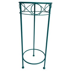 Mid-Century Modern Plant Stand, Powder Coated Turquoise