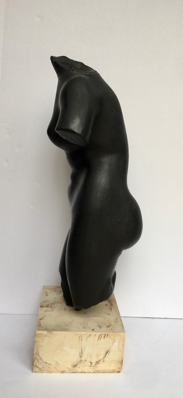 Mid-Century Modern Plaster and Marble Female Torso Bust Sculpture, 1970s In Good Condition In Lambertville, NJ
