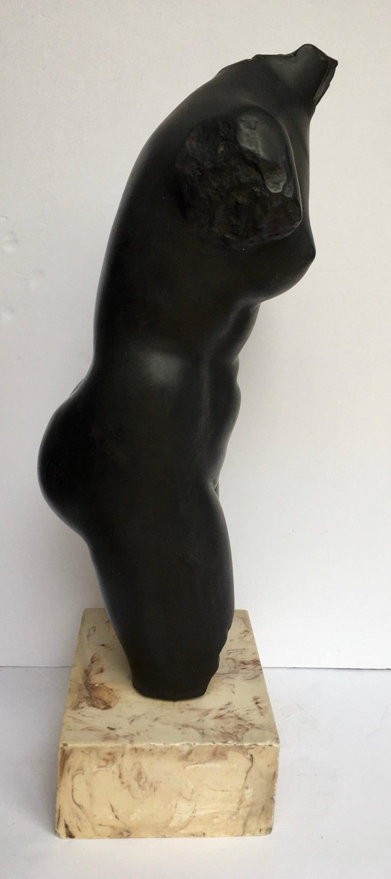 Late 20th Century Mid-Century Modern Plaster and Marble Female Torso Bust Sculpture, 1970s