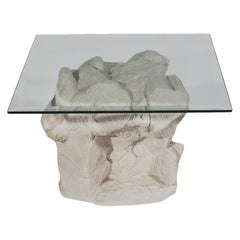 Mid-Century Modern Plaster Rock and Glass Square Side Table Table by Sirmos