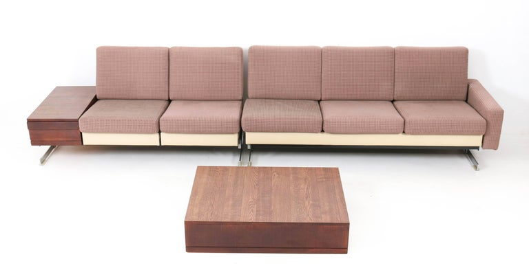 Rare and hard to find Mid-Century Modern sofas with wenge coffee tables. Design by Rolf Benz, Model: Pluraform. Striking German design from the 1960s. Original chrome-plated metal base and the seats have their original upholstery which is used