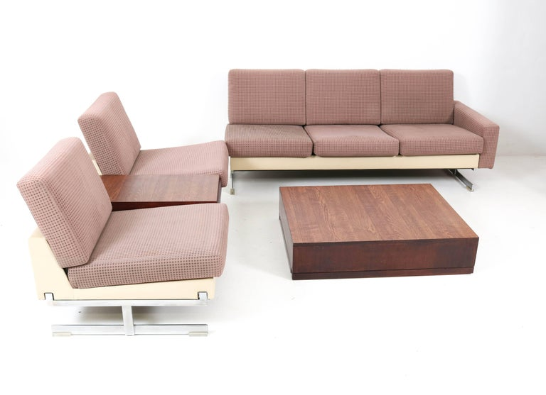 German Mid-Century Modern Pluraform Sofas with Wenge Coffee Tables by Rolf Benz, 1964 For Sale
