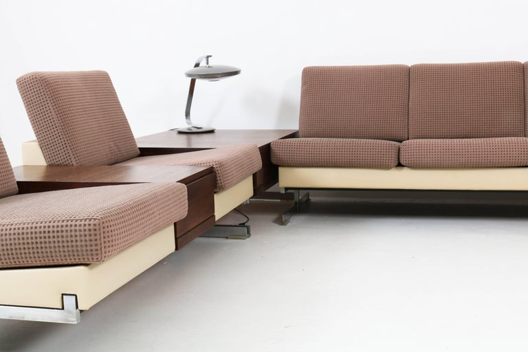 Mid-Century Modern Pluraform Sofas with Wenge Coffee Tables by Rolf Benz, 1964 In Good Condition For Sale In Amsterdam, NL
