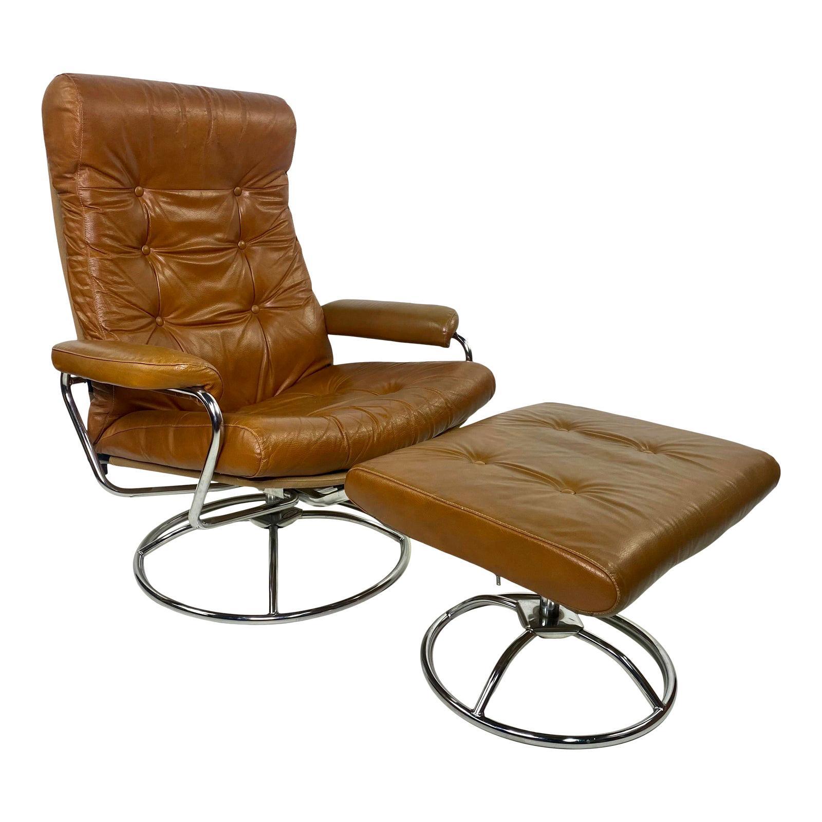 Mid-Century Modern Plycraft Reclining Arm Lounge Chair & Ottoman